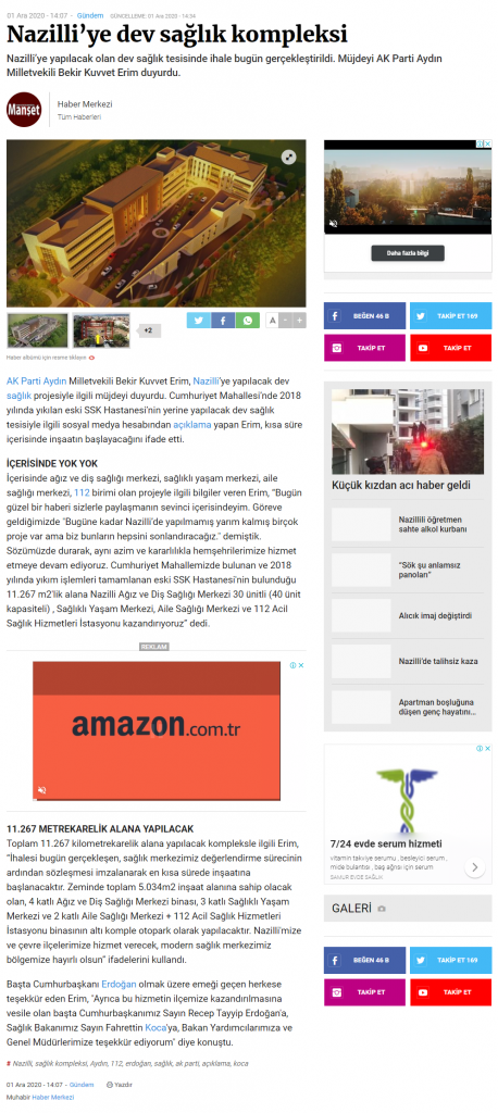 Manşet Gazetesi ( Nazilli'ye dev sağlık kompleksi)