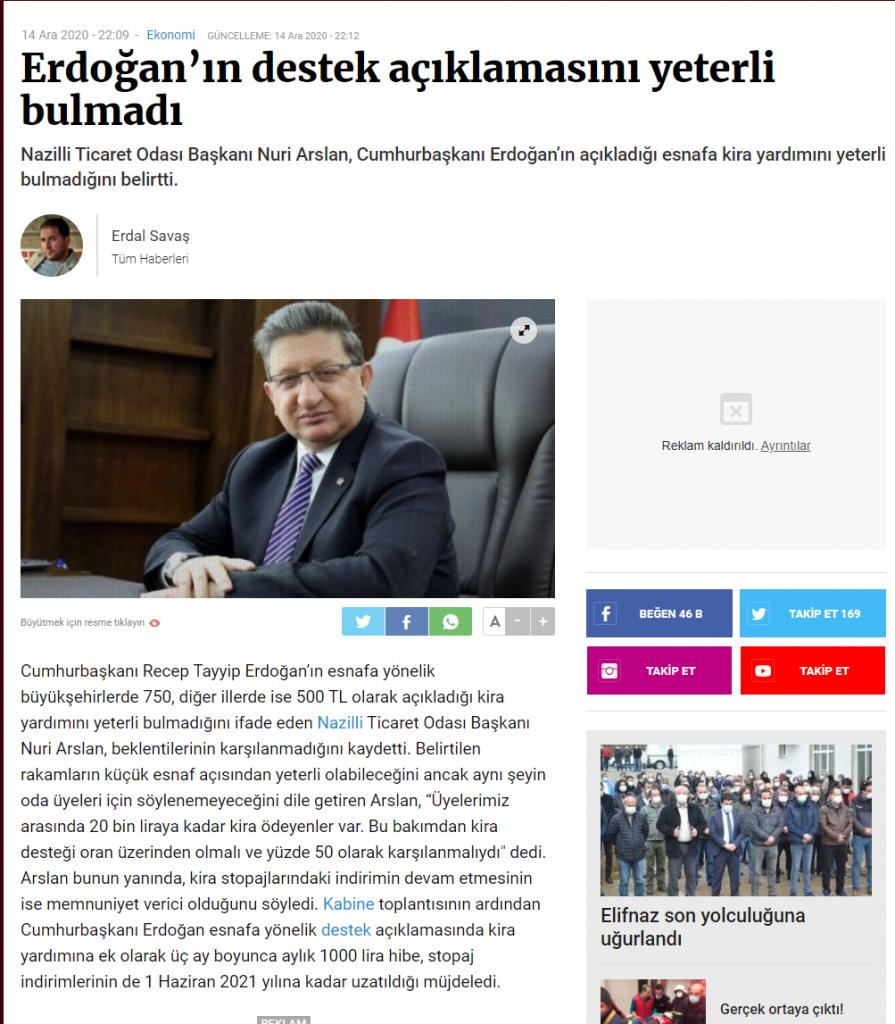 Manşet Gazetesi (Erdoğan'ın Destek Açıklamasını Yeterli Bulmadı)