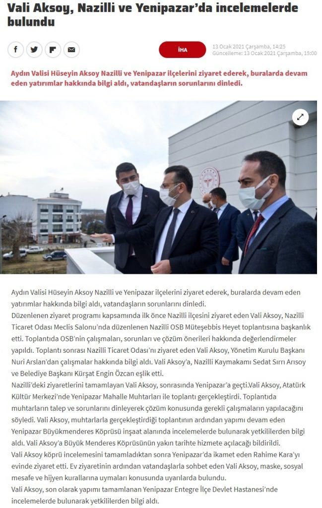 Haber Türk ( Vali Aksoy, Nazilli ve Yenipazar'da İncelemelerde Bulundu )