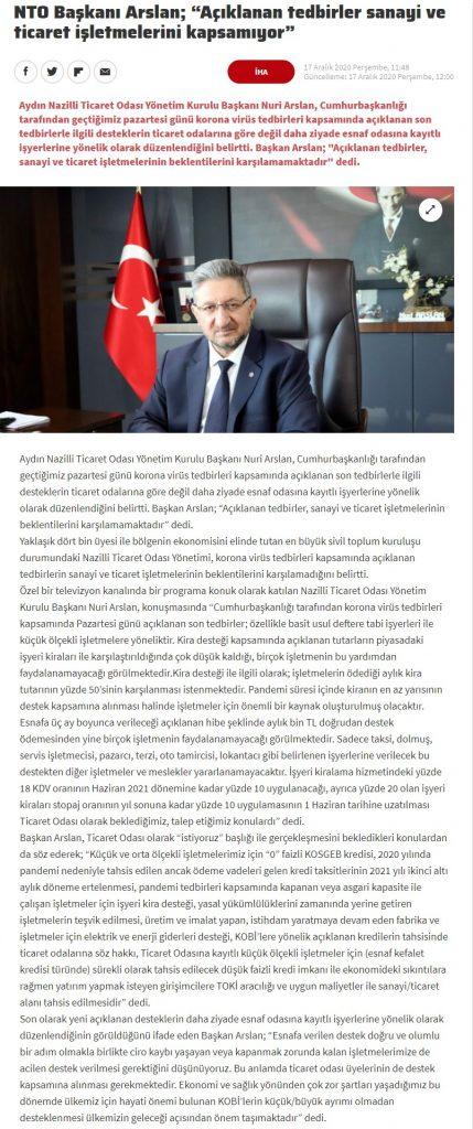 Haber Türk ( NTO Başkanı Arslan' Açıklanan Tedbirler Sanayi ve Ticaret İşletmelerini Kapsamıyor)