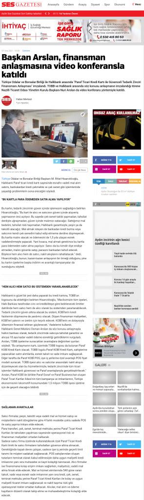 Ses Gazetesi ( Başkan Arslan, Finansman Anlaşmasına Video Konferansla Katıldı)