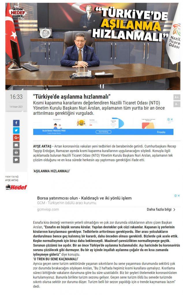 Türkiye'de Aşılanma Hızlanmalı