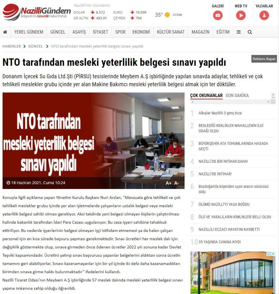 NTO tarafından mesleki yeterlilik belgesi sınavı yapıldı